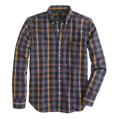 Tall Secret Wash shirt in gold wheat plaid
