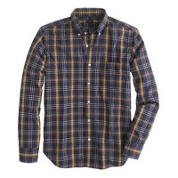 Slim Secret Wash shirt in gold wheat plaid
