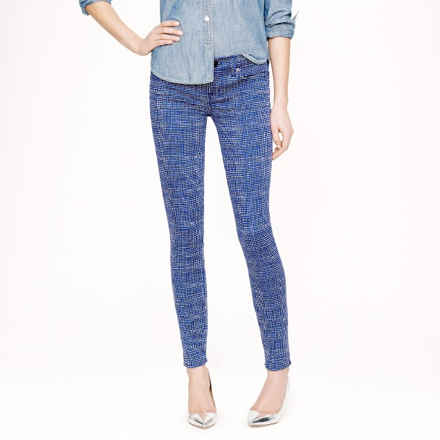 Toothpick jean in basket-weave print
