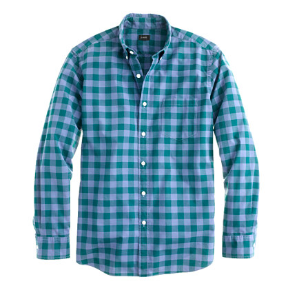 Slim Secret Wash shirt in large two-color gingham