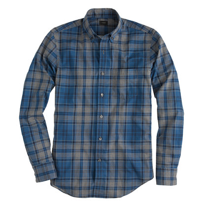 Slim Secret Wash shirt in heather blue plaid