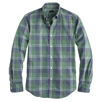 Secret Wash shirt in nile green plaid