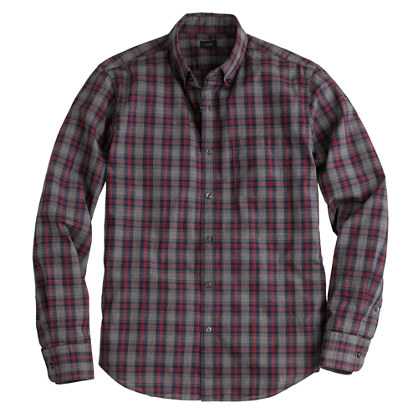 Slim Secret Wash shirt in heron grey plaid
