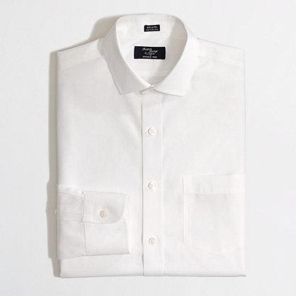 Factory Thompson wrinkle-free spread-collar dress shirt in white