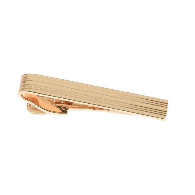 Gold-plated double-stripe tie clip