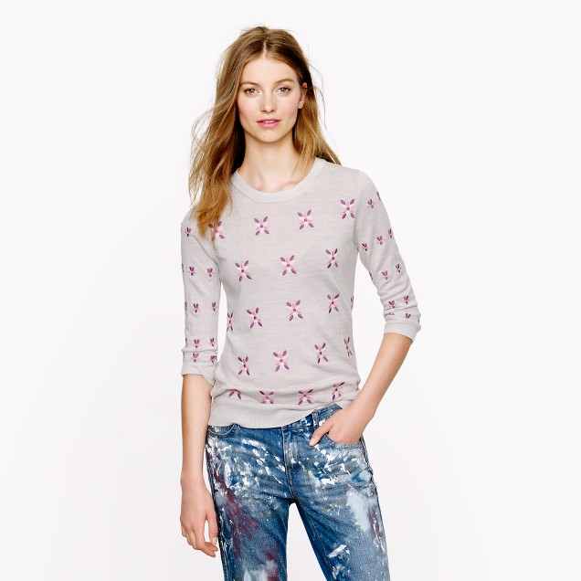 Merino Tippi sweater in embroidered flowers