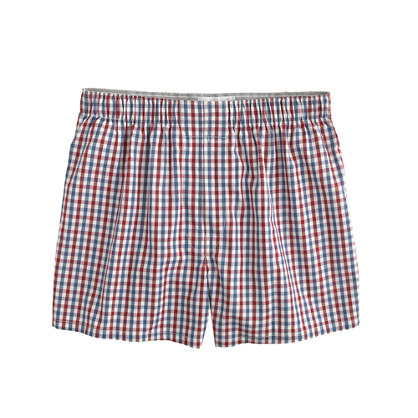 Burgundy-check boxers