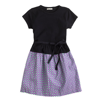 Girls' tee dress in square dot