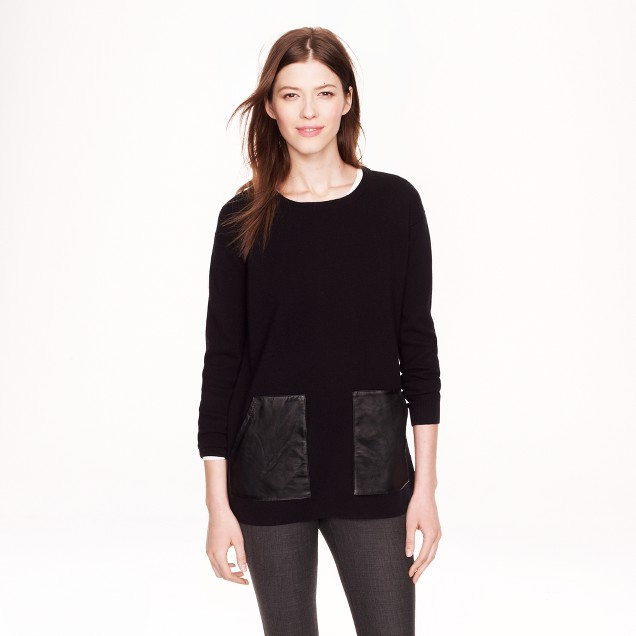 Merino leather-pocket sweater