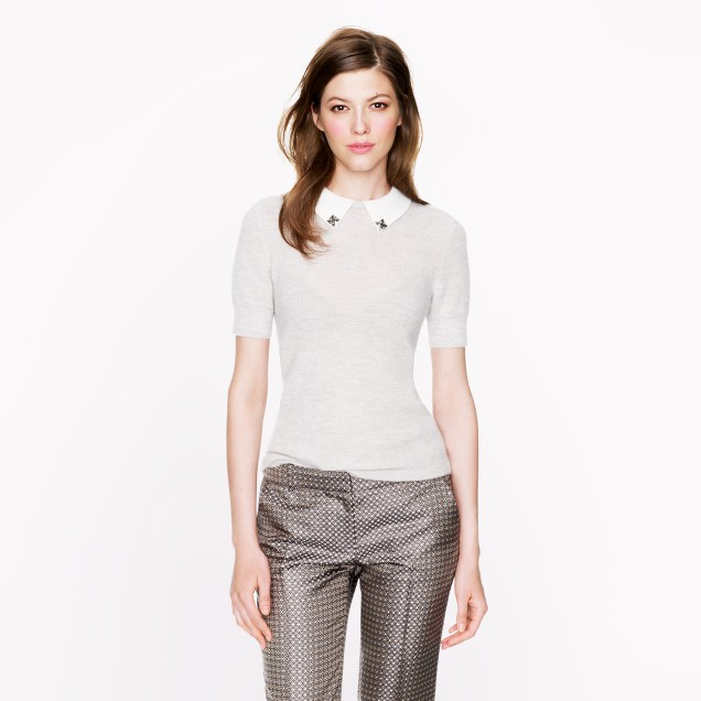 Collection featherweight cashmere jeweled-collar waffle sweater