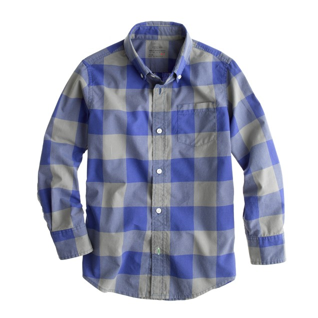 Boys' Secret Wash shirt in two-tone giant gingham