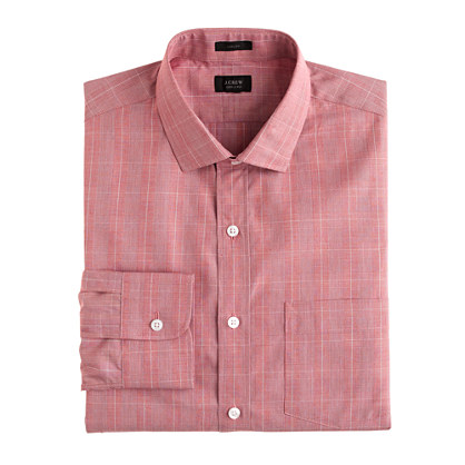Tall Ludlow spread-collar shirt in glen plaid