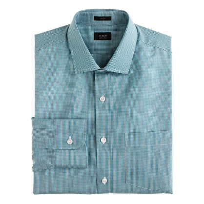 Ludlow spread-collar shirt in microgingham