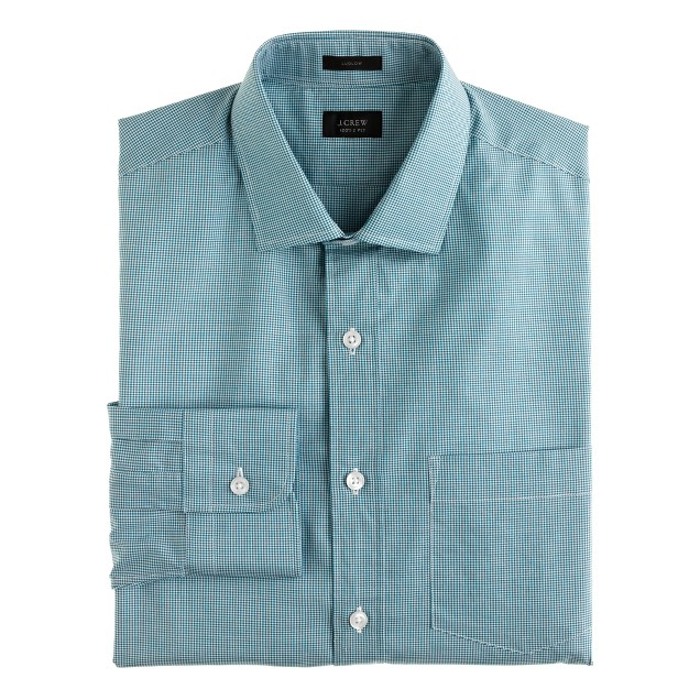 Ludlow spread-collar shirt in microgingham