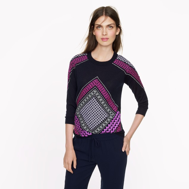 Merino Tippi sweater in embroidered tile