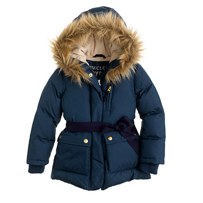 Girls' furry hooded puffer