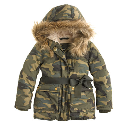 Girls' furry hooded puffer in camo