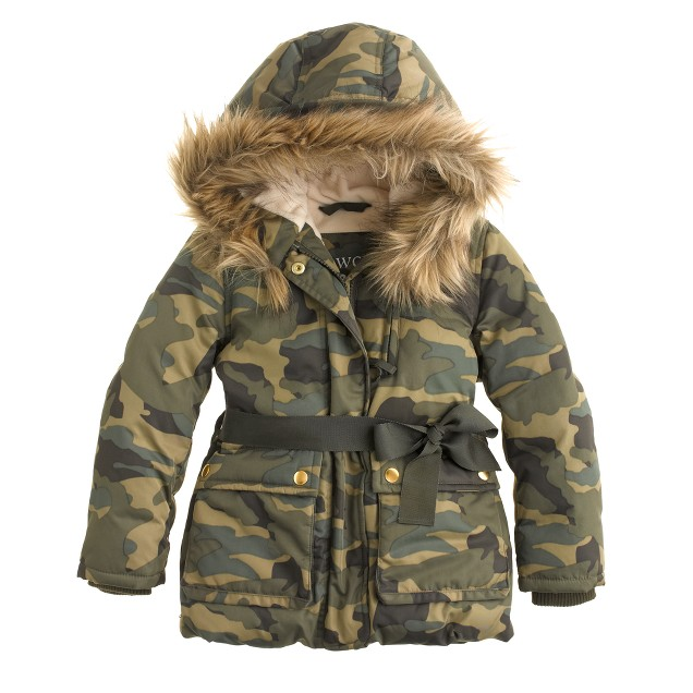Girls' furry hooded puffer in camo