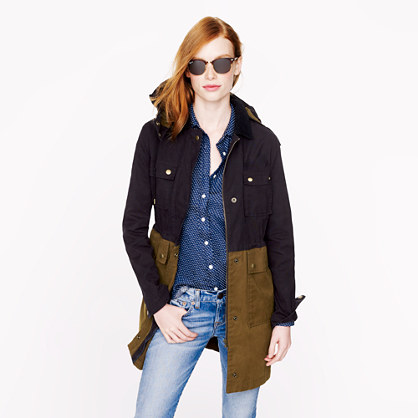 Petite long colorblock field jacket