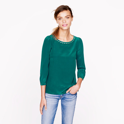 Scalloped cutout silk top