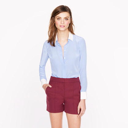 Petite silk boy blouse with contrast trim