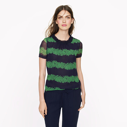 petite silk ruffle top in beanstalk stripe
