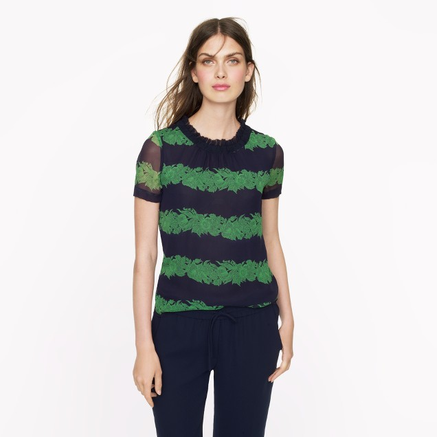 Silk ruffle top in beanstalk stripe