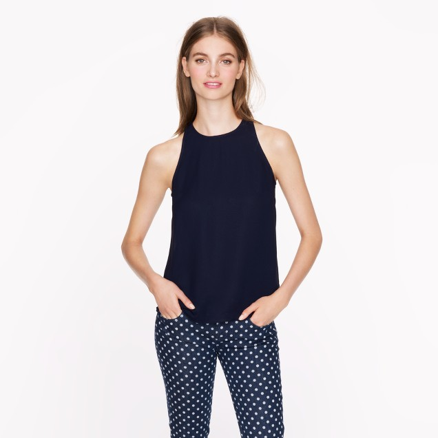 Tall crepe racer tank