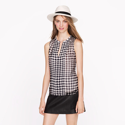 Silk gingham top
