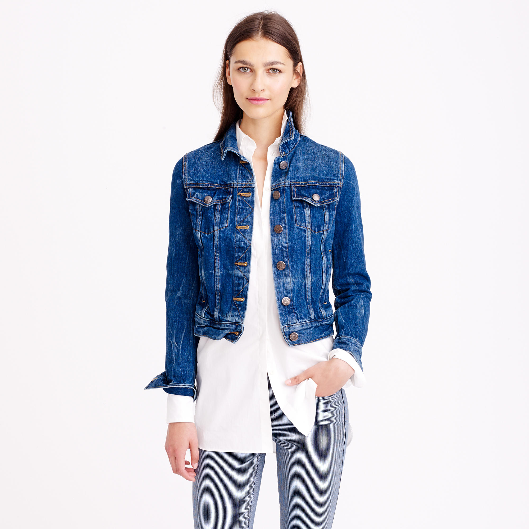 Vintage denim jacket in recycled indigo wash : Women denim | J.Crew