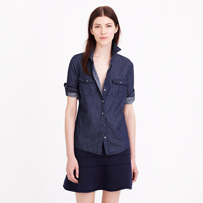Keeper chambray shirt in dark rinse