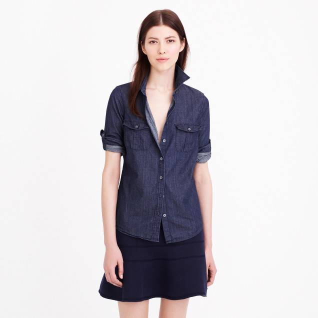 Petite keeper chambray shirt in dark rinse