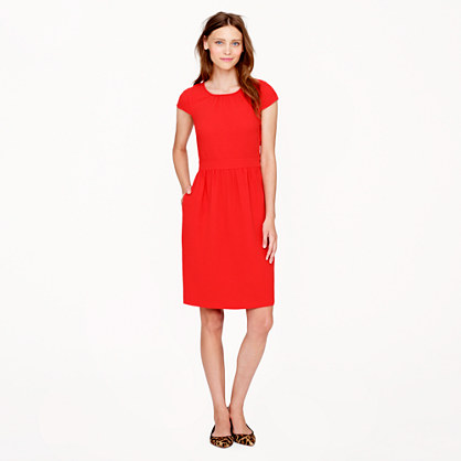 Petite crepe cap-sleeve dress