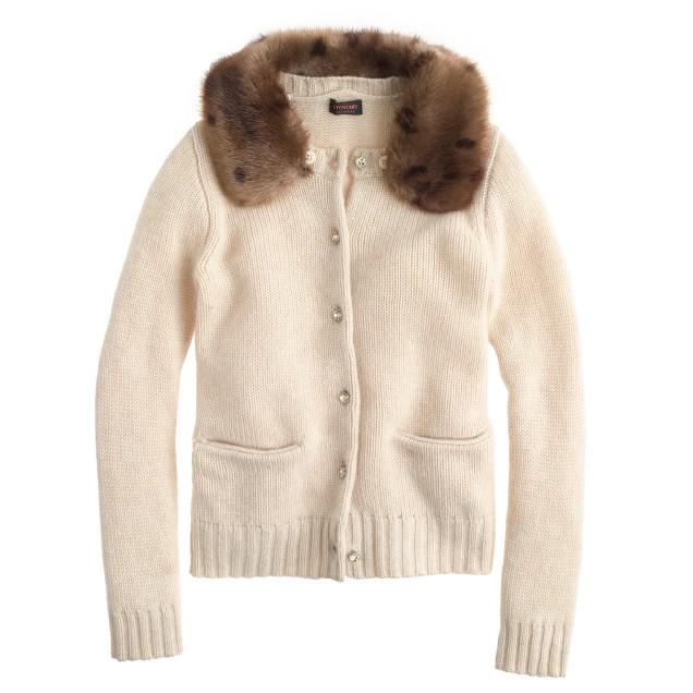 Girls' cashmere furry-collar cardigan sweater
