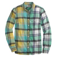 Boy shirt in green plaid