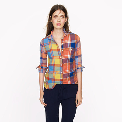Boy shirt in orange plaid
