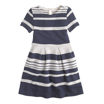 Girls' pleat dress in stripe