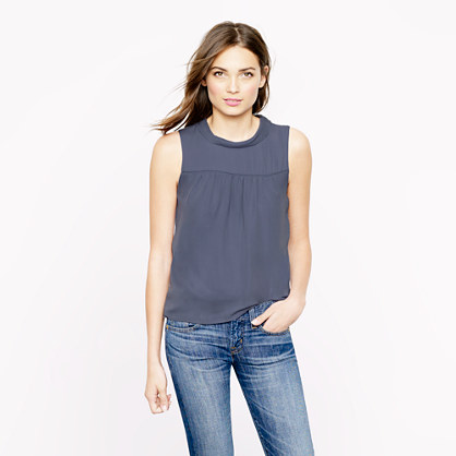 Petite silk draped collar top