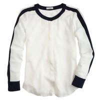 Contrast-trim silk blouse