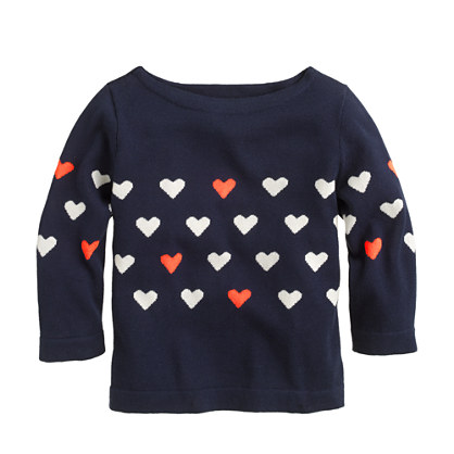 Girls' heart-stripe sweater