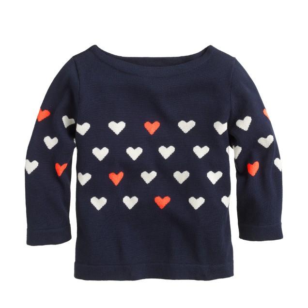 Girls' heart-stripe sweater
