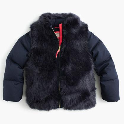 Girls' furry puffer
