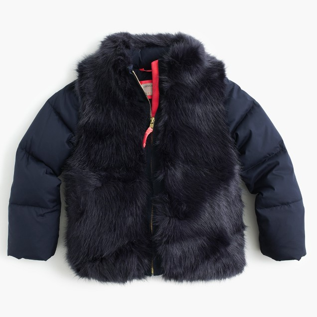 Girls' furry puffer