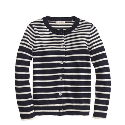 Girls' Caroline cardigan in double stripe