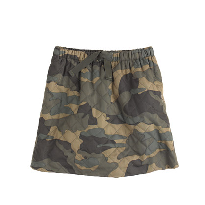 Girls' quilted puffer skirt in camo