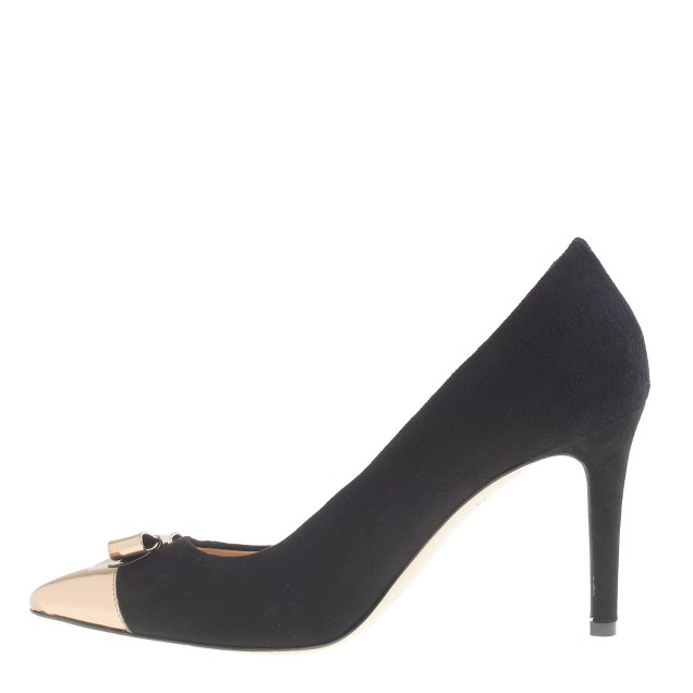 Everly cap toe pumps with patent bow