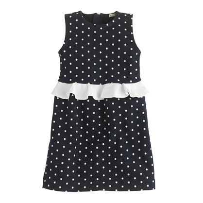 Girls' peplum dress in dot