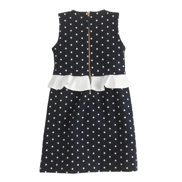 Girls' peplum dress in dot