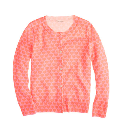 Girls' Caroline cardigan in heart print