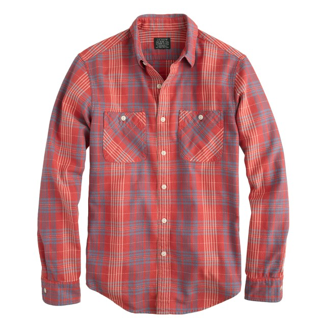 Flannel shirt in persimmon plaid